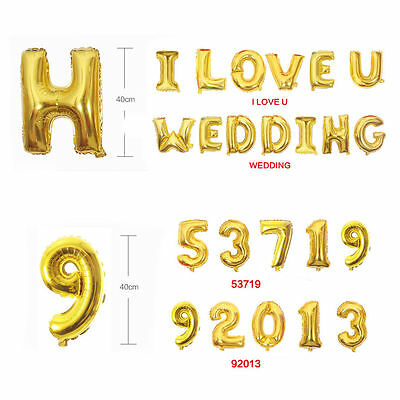 """16"""" Silver/Gold Foil Balloons - Alphabet (Letter)/Number Birthday Weding Party 3"""