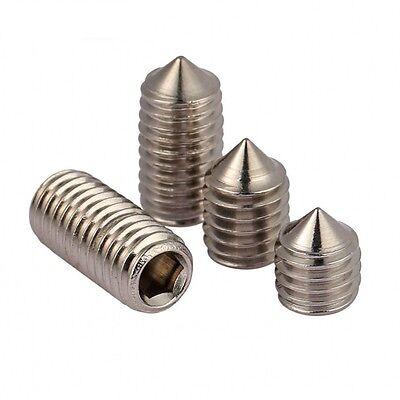 M6 M8 M10 Grub Screws Cone Point Hex Socket Set Screws 316 A4 Stainless Steel 4