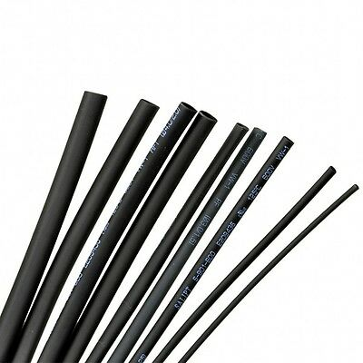 Black Heatshrink 2:1 Tube Tubing Sleeve Sleeving Heat Shrink Wrap Cable 1Mm-12Mm