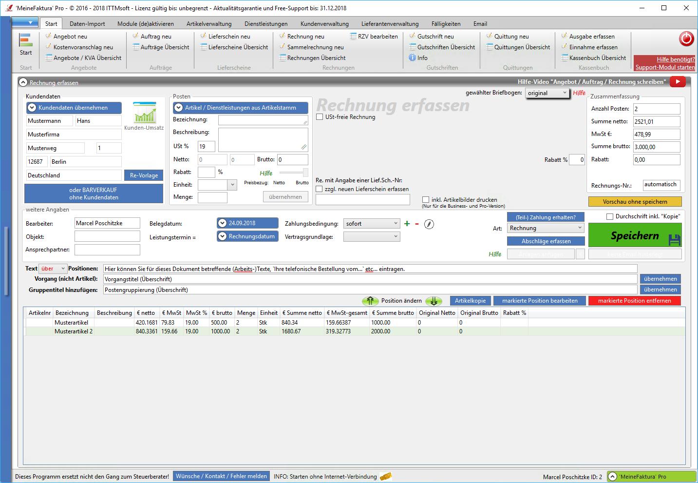 Rechnungsprogramm Rechnungssoftware Angebote Aufträge Rechnungen