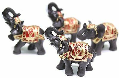 Set of 4 Feng Shui Black Thai Elephant Statues Lucky Figurine Gift & Home Decor 4