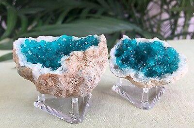 Blue Geode Pair W/Stands Crystal Quartz Gemstone Specimen Dyed Morocco Geode 6