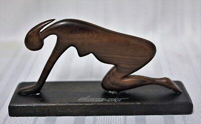 2 Carved Wooden Yoga Pose Sculptures 7