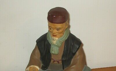 Hakata Urasaki Doll Figurine Handmade Old Man Sitting Holding Food 9
