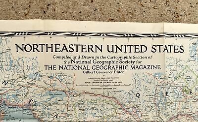 Vintage 104 x 66cm 1945 National Geographic Map NORTHEASTERN UNITED STATES USA 5