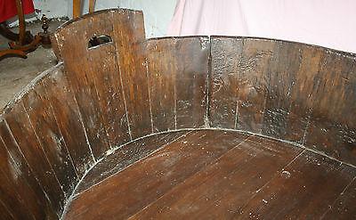 Antique Victorian huge unusual vernacular barrel log basket dog bed bath cot 4