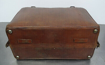 Antike Hebamme Doktor Koffertasche Koffer Arzt Leder Tasche 5