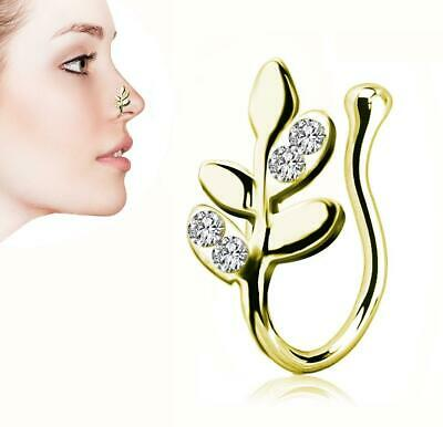 Ring Crystal Gem Leaves Nose Cuff Faux Clip On Silver,Gold Nose Hoop,Fake Nose