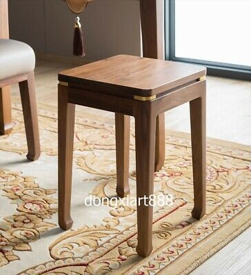 Brass Black walnut solid wood furniture Wooden dining room square High stool 6