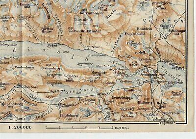 1909 Original Antique Map Of Vicinity Of Bygdin Tyin Lake / Jotunheimen / Norway 2