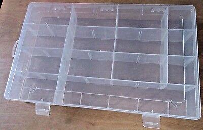 ... Portable Small Parts Organizer 14 Compartment Clear Plastic Storage Box