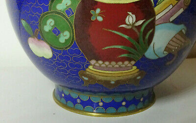 Alte Cloisonne Vase Email Top Blumen Flower alt China Asiatica 3