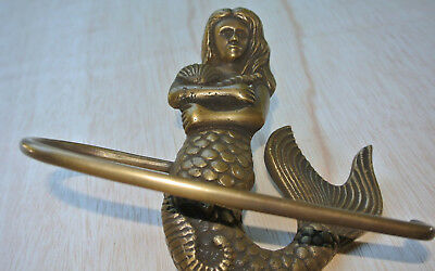 "MERMAID heavy TOILET ROLL SOLID BRASS vintage RAIL towel style house 6.1/2"" B 7"
