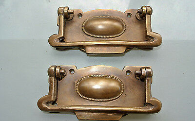 8 cabinet handles brass furniture vintage age old style 95mm heavy for antiques 3