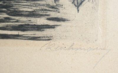 Gravure - Reichmann - Campagne lacustre - 44x35 cm - encadrement ronce de noyer