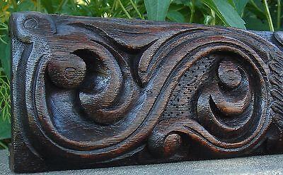 19C English Salvage Set 3 Carved Gothic Oak Griffin/Gargoyle Drawer-Front Panels 11