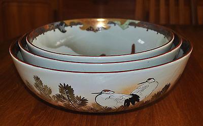 Superb Set of 3 Large Kutani Graduated Porcelain Bowls Hand Painted Meiji Period 6