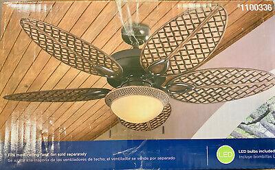 Harbor Breeze Tilghman Ii 2 Light Bronze Led Ceiling Fan Light Kit With White Fr 79 99 Picclick