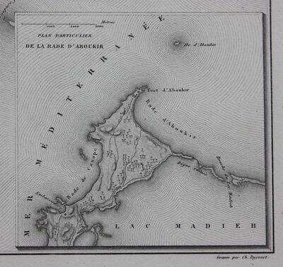 Original antique map EGYPT, ALEXANDRIA, ABU QIR, BATTLE OF THE NILE, Dufour 1859