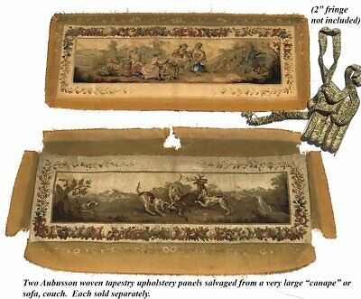 """RARE 55.5"""" Long Antique French Aubusson Tapestry Fragment, Sofa Panel, Figural 10"""