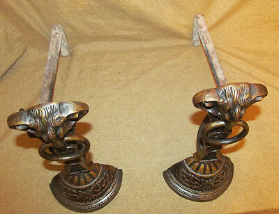 Pair Antique Victorian Bronze Rams Head Form Andirons Aesthetic 6
