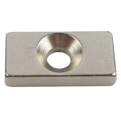 Strong Block Countersunk Magnet 30x10x5mm 2 Hole 4mm Rare Earth Neodymium N35
