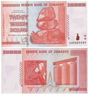 Zimbabwe 10 20 50 100 Trillion Dollars Set of 4 Banknotes UNC AA+ 2008 (Zim4) 4