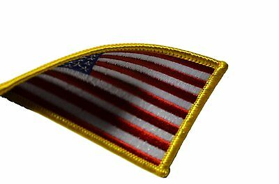 AMERICAN FLAG EMBROIDERED PATCH iron-on GOLD BORDER USA US United States 4
