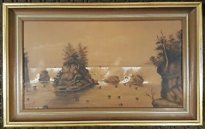 Antique American Painting Falls Of St Anthony Mn Native Americans Baumer Chicago 12