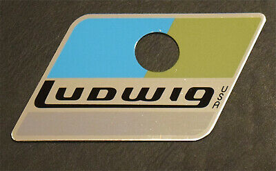 x2 Ludwig Blue//Olive Repro Badges w// Correct Brushed Metal Area for Serial #