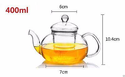 8 Piece Glass Tea Set 400ml Teapot With Infuser + Teapot Warmer + 6 Cups