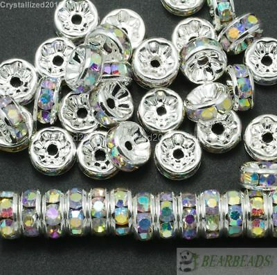 100 Czech Crystal Rhinestone Silver Rondelle Spacer Beads 4mm 5mm 6mm 8mm 10mm 4
