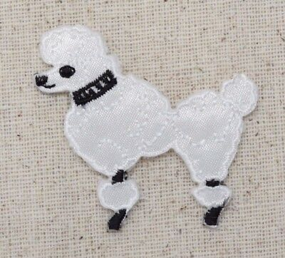 "POODLE DOG WHITE 4.75/"" EMBROIDERED IRON ON APPLIQUE L"