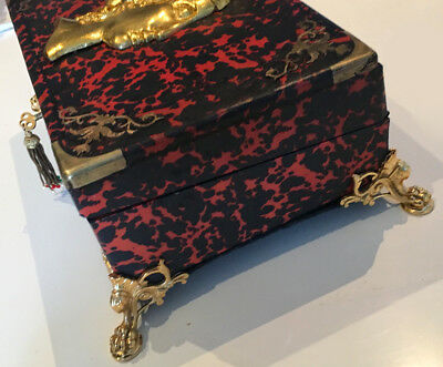 Antique French Ormolu Red Tortoise Shell Boulle  Writing Box Slope 6