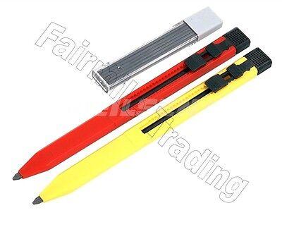 2 X Mechanical Carpenter Pencils Auto Refillable Pocket 12 Leads Timber Ceramic 2