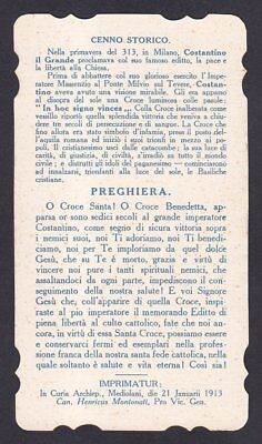 SANTINO 113a COSTANTINO - HOLY CARD IMMAGINETTA RELIGIOSA IMAGE PIEUSE - 1913