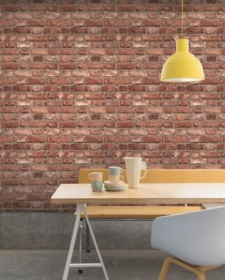 GranDeco Home-Vintage Brick Wallpaper A28901 Red