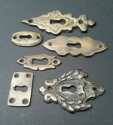 """6 various antique style escutcheon key hole covers ornate 1-3"""" solid brass #E 3"""