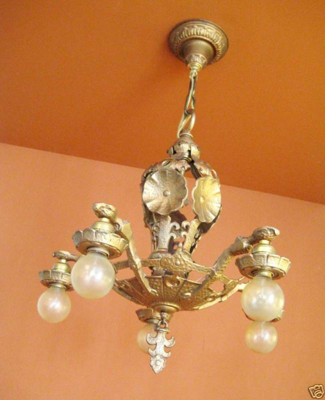 Vintage Lighting 1920s high quality Halcolite chandelier 2