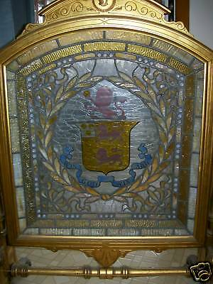 Antique Leaded Stained Glass Firescreen 6
