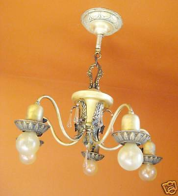 Vintage Lighting pair 1920s Colonial silver chandeliers   Sweet Glass Drops 7