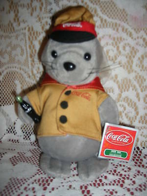 Coca Cola brand Bean Bag Seal in Yellow Vest &  Cap with Mini-bottle & Tags