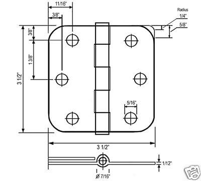 "Satin Nickel 3.5"" X 3.5"" w 5/8"" Radius Round corner Door Hinge US15"