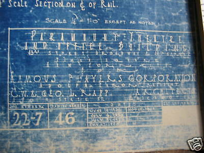 1925 PARAMOUNT PICTURES Theater Blueprint NEW YORK CITY One of a kind!!!!!!! 2