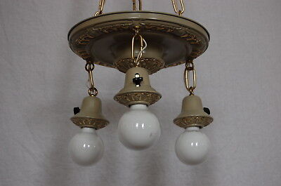 Painted Brass Pan Ceiling Light 3 Decorative Sockets 7