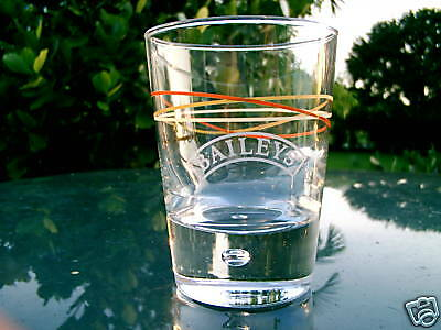 BAILEYS  GLASS WITH BUBBLE IN BASE COLOR LINE DESIGN NICE REPLACEMENT