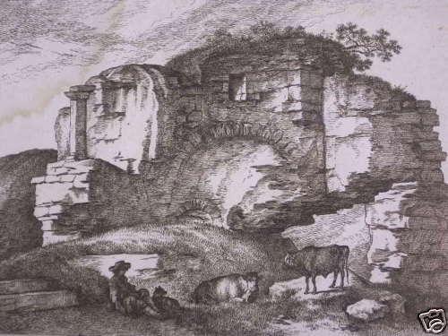 HIRTE mit KÜHEN an FELSENRUINE: KUPFERSTICH UM 1800