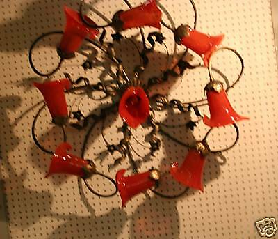 Handcrafted Art Deco Style Wrought Iron Ceiling Lamp 9 Hand Blown Glass Shades 2