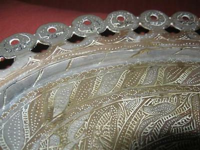 Antique Persian Islamic Silver Plated Metal Oval Tray Platter w Arabic Engraving 5