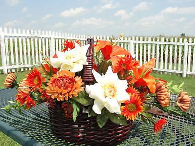 Fall Orange Lily Silk Flower Arrangement Wicker Basket Spectacular Designs